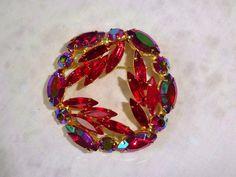 VINTAGE Weiss Pink & Aurora Borealis Rhinestone Brooch Pin Glitzy! #weiss