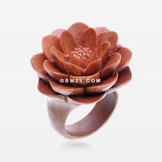 Large Water Lily Sabo Wood Fashion Ring