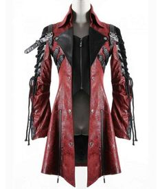 Punk Rave Poison Jacket Mens Red Black Faux Leather Goth Steampunk Military Coat in Clothes, Shoes & Accessories, Men's Clothing, Coats & Jackets Steampunk Mode, Style Steampunk, Steampunk Clothing, Gothic Steampunk, Steampunk Outfits, Steampunk Jacket, Gothic Clothing, Armor Clothing, Women's Clothing