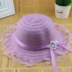 Children Kids Baby Girls Lace Flower Brim Beach Sun Straw Visor Hat Cap 2-6Y