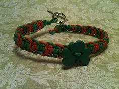 Irish Flag #Shamrock #Hemp Bracelet 2089 by HemptressDesigns on Etsy #handmade #kissmeimirish #stpatricksday