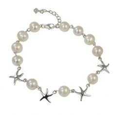 Starfish and Pearls pretty cultured pearl bracelet set with four sterling  silver starfish.