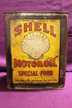 Early Silver Shell Special Ford One Gallon Oil Tin