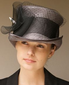 Kentucky Derby Hat Steel Gray & Black Top Hat. Mad by AwardDesign