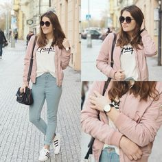 Baby pink bomber with sunglasses. Adidas superstar shoes and sweet blue pants.