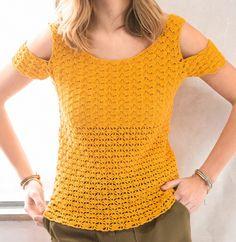 Découvert au niveau des épaules, ce joli pull coloré est crocheté en Laine DETENTE coloris bouton d'or. Modèle n°15 du catalogue n°142, modèles au crochet, printemps-été 2017