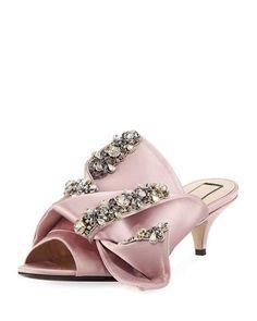 e3bf016b82 Jeweled Satin Low-Heel Mule Sandal, Rosa Heeled Mules Sandals, Mules Shoes,