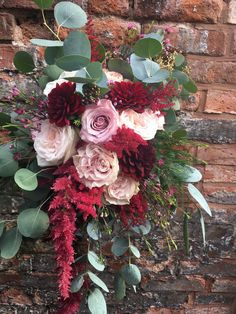Blush and Marsala bridal bouquet - unstructured brides bouquet - deep red flowers - blush flowers - blush roses - red amaranthus - eucalyptus - deep red dahlia - quicksand rose - Faith rose - grey foliage
