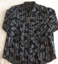 XL Mens Shirt Red X Black and Gray Flocked Paisley Floral Print Long Sleeve NWT #RedX #ButtonFront