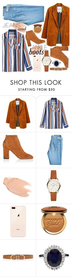 """""""Jeans and Ankle Boots"""" by cm-christy ❤ liked on Polyvore featuring MANGO, Aquazzura, AG Adriano Goldschmied, Too Faced Cosmetics and White House Black Market"""