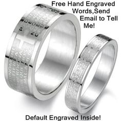 Amazon.com: Geminis New Fashion Silver Cross&bible the Faith of Love 316 L Stainless Steel Titanium Wedding Band Anniversary/engagement/promise/couple Ring Best Gift!: Jewelry