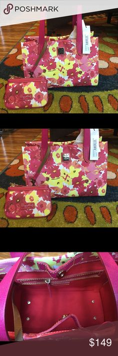 🌺SALE🌺Dooney & Bourke 2 piece floral Sunshine yellow and 3 different colors of pink. pink handles. gold tone hardware. Key fob wristlet matches bag . Hello summer let's shop! Nice size Dooney & Bourke Bags Shoulder Bags