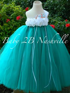 For marget!!! Teal Flower Girl Dress  Wedding Flower Girl. Red flowers with red headress ;)
