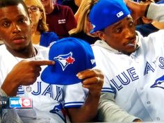Raptors Lowry & DeRozan show the Jays some love attending Game 3 of the ALDS in Toronto Toronto Raptors, Rap City, Pro Basketball, Man Crush Everyday, Game 3, Toronto Blue Jays, Go Blue, Nba Players, Champs