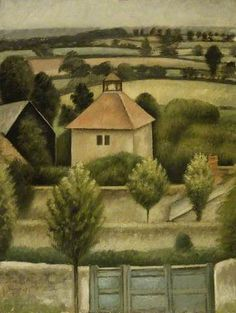 'The Pigeon House' by English painter Mark Gertler Oil on canvas, x cm. via BBC Green Landscape, Abstract Landscape, Pigeon House, Art Eras, Bloomsbury Group, Australian Painters, Your Paintings, Pastel Paintings, The Embrace