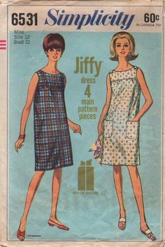 1960s Simplicity 6531 Misses Jiffy Dress Pattern Button Shoulder Shift Womens Vintage Sewing Pattern Size 12 Bust 32