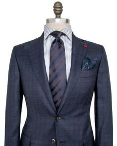 Image of Isaia Blue Large Check Suit