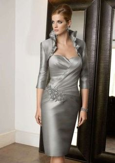 Cheap mother of bride, Buy Quality mother of bride dress directly from China mother of the bride Suppliers: New Mother of the Bride Dress Gray Taffeta With Jacket Applique Pleats Vestidos De Festa Knee-Length Evening Prom Dresses Mother Of Groom Dresses, Mothers Dresses, Mother Of The Bride, Wedding Party Dresses, Bridal Dresses, Bridesmaid Dresses, Dress Party, Bride Gowns, Couture Dresses
