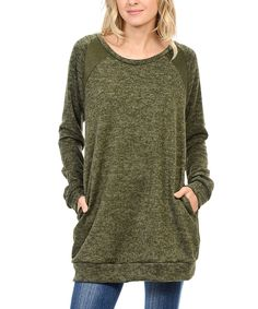 Look at this #zulilyfind! Acting Pro Olive Scoop Neck Tunic by Acting Pro #zulilyfinds