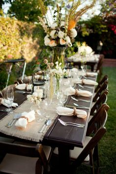 outdoor malibu wedding by katie neal photo, wood chair wedding table settings Party Decoration, Wedding Decorations, Table Decorations, Wedding Centerpieces, Wedding Rehearsal, Rehearsal Dinners, Recycle Your Wedding, Burlap Table Runners, Beautiful Table Settings