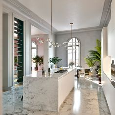 The perfect house should have the perfect flow from one space to the other - apartment Luxury Kitchen Design, Interior Design Kitchen, Minimalist Kitchen, Minimalist Decor, Classic Interior, White Rooms, Cuisines Design, Home And Deco, Inspired Homes