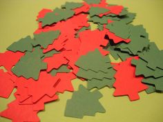 100 CHRISTMAS TREES Red and Green Die Cuts Confetti, Winter Wedding Embellishments POLAR Cutouts Party Decoration on Etsy, $2.00