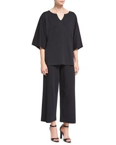 Pima+Kimono-Sleeve+Tunic+&+Easy+Wide-Leg+Ankle+Pants,+Black+++by+Joan+Vass+at+Neiman+Marcus.