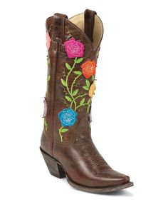 DIYadd flowers and lace cowgirl boots | ... Boots Brown Flower Classic Western Molten Tawny Cowboy Boot - Women on