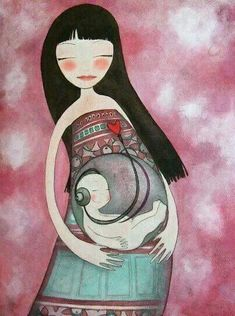 Love this, so cute! Pregnant mommy, baby in womb, listening to heart beat!