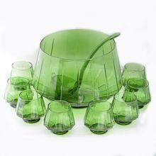 Emerald Green Glass Punchbowl Set from Villa Di Bello on Ruby Lane