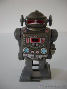 Robots-Robot japones tin toy-Hojalata-cuerda