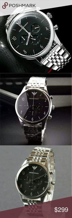 Emporio Armani Chronograph Stainless Mens Watch NWT EMPORIO ARMANI Chronograph Black Dial Stainless Steel Men's Watch 299.00 . AUTHENTIC WATCH . AUTHENTIC BOX . AUTHENTIC MANUAL SHIPPING PLEASE ALLOW FEW BUSINESS DAYS FOR ME TO SHIPPED IT OFF.I HAVE TO GET IT FROM MY STORE. THANK YOU FOR YOUR UNDERSTANDING. emporio Armani Accessories Watches