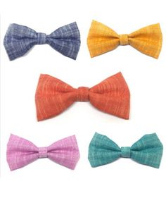 Attachable dog bow tie solid color linen fabric classic