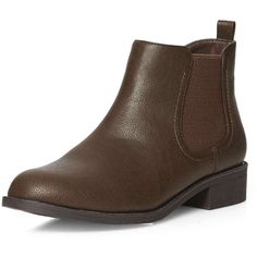 Dorothy Perkins Chocolate 'May' chelsea boots (£36) ❤ liked on Polyvore featuring shoes, boots, ankle booties, brown, flat boots, chelsea ankle boots, chelsea boots, chocolate brown boots and brown flat boots