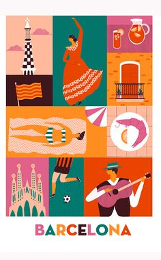 "Naomi Wilkinson, Barcelona ""I enjoyed working on my ""Copenhagen"" piece so much I've decided to extend my collection of city posters, here's one inspired by one of my favourite cities; Naomi Wilkinson, Travel Illustration, People Illustration, Postcard Design, Vintage Travel Posters, Illustrations Posters, Cities, Illustrators, Decoupage"