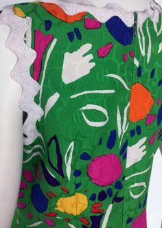 Bill Blass - Robe Mini - Imprimé Floral sur Fond Vert et Croquet Rayé - Années 70
