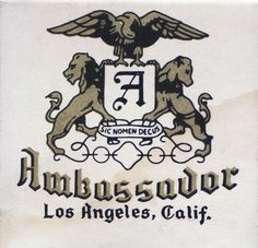 The Ambassador Hotel, 3400 Wilshire Boulevard, Los Angeles, CA, coat of arms