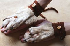 PAIR of real white wolf paw fur legskin and by thegreenwolf, $100.00
