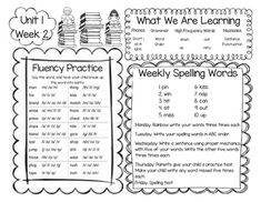 McGraw-Hill Reading Wonders First Grade Homework (Unit 1)