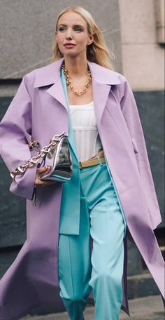 Pastel Outfit, Purple Outfits, Colourful Outfits, Colorful Fashion, Girl Outfits, Fashion Outfits, Street Style Looks, Street Style Women, Ohh Couture