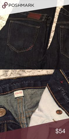 33x32 Banana Republic Straight Leg Jeans. NWOT. This is a separate listing from the other pair of the same jeans. He just has two identical unworn pairs of the straight leg in 33x32. Banana Republic Jeans Straight