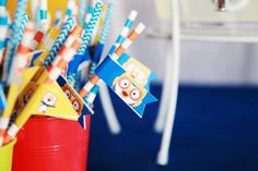 Sailor & Chevron Paper Straws - Pororo Theme