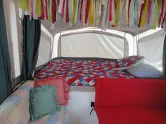 Interior re-do of my popup camper :)  Ideas inspired by Pinterest.