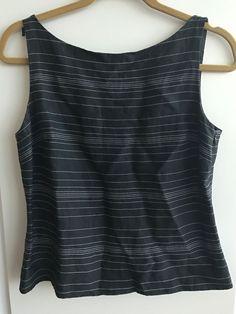 51d9cb3b728f4 ANN TAYLOR LOFT Women s Size 8 Petite Black White Stripes Linen Blouse  Career  fashion