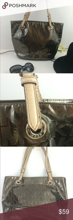 Michael Kors MK signature metallic shiny 2 straps Michael Kors MK signature metallic shiny patent leather 2 leather straps. Pre owned pre love very good condition for a pre owned bag Michael Kors Bags Shoulder Bags