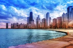 Chicago Skyline Rainbow colored