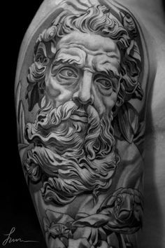 Amazing 3-D statuesque Poseidon tattoo art on upper arm by JUN CHA