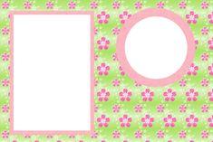 Flores com Fundo Rosa e Verde – Kit Completo com molduras para convites, rótulos para guloseimas, lembrancinhas e imagens!  Fazendo a Nossa Festa