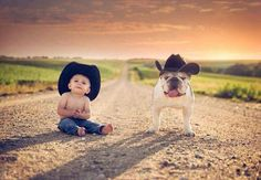 Lil cowboy baby and bulldog taking the wild west by storm! So Cute Baby, Cute Kids, Cute Babies, Adorable Dogs, Little Cowboy, Little Boys, Lil Boy, Children Photography, Animal Photography