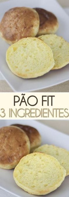 Pão Fit Low Carb – 3 Ingredientes A super easy, fast and healthy recipe for a super soft milk roll that only takes 3 ingredients. No Salt Recipes, Light Recipes, Low Carb Recipes, Cooking Recipes, Menu Dieta, Good Food, Yummy Food, Food Porn, Food And Drink